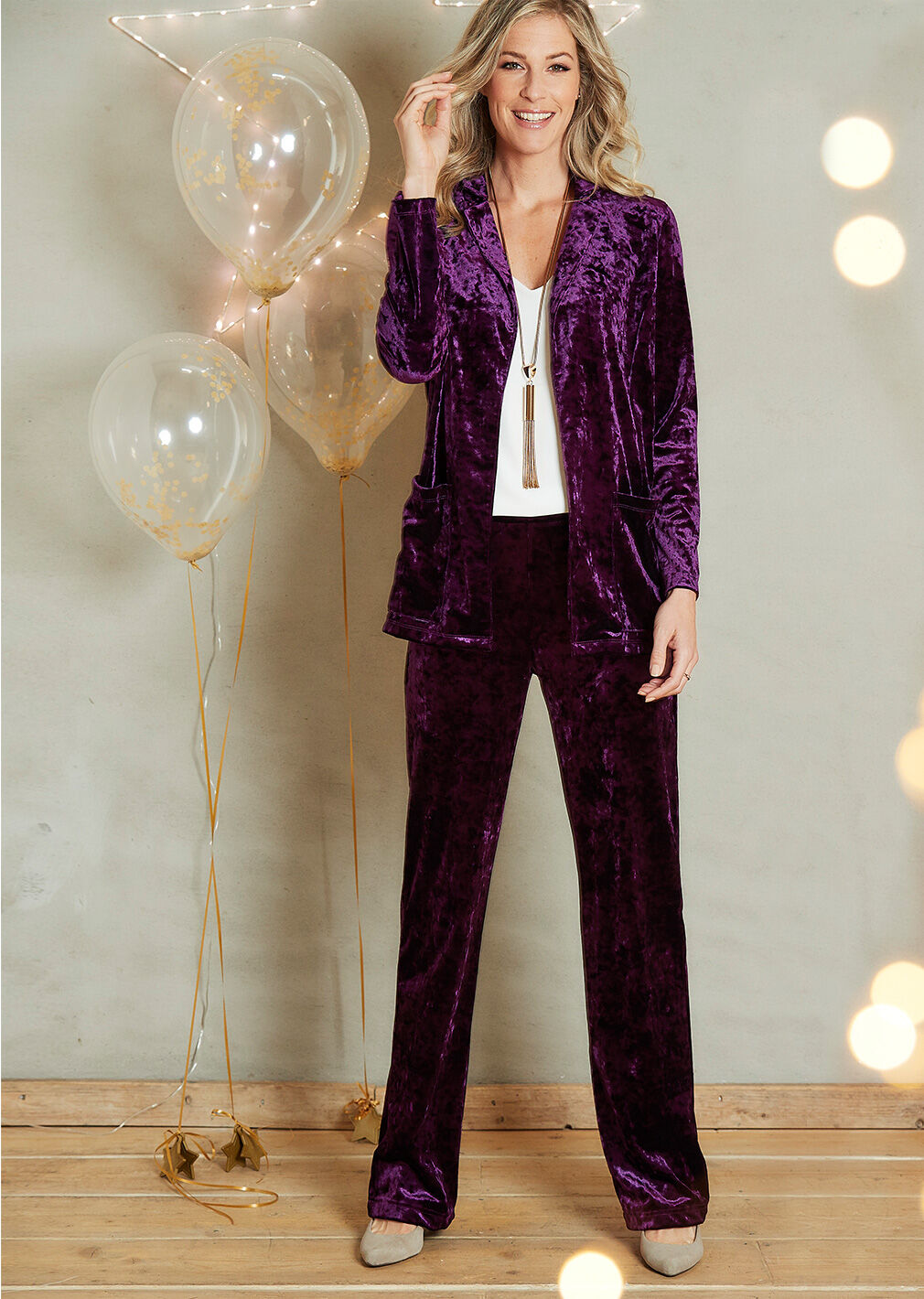 Partywear | Crushed Velour Cardigan | Crushed Velour Trousers | By Cotton Traders