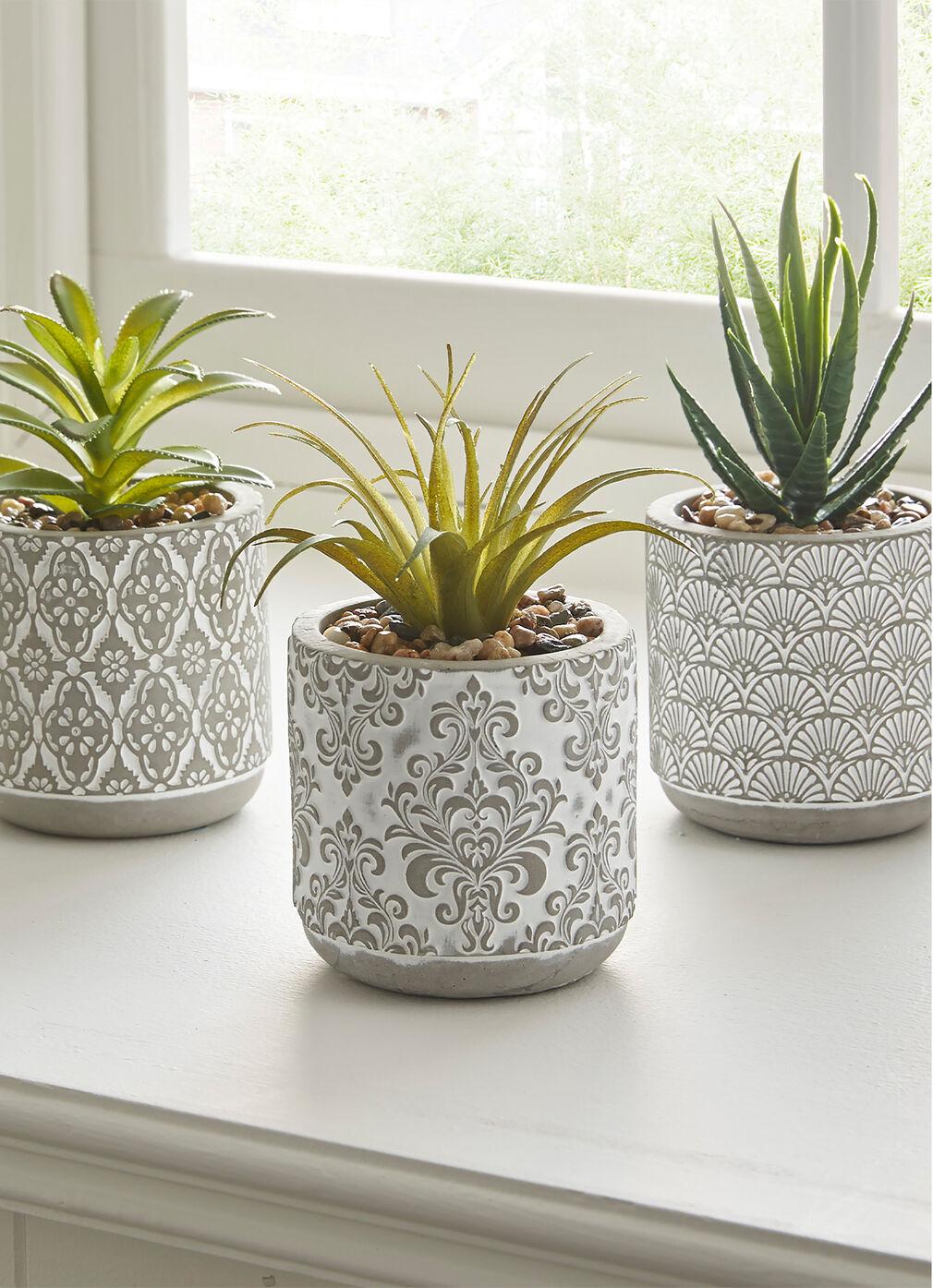3 Faux Plants in Planters