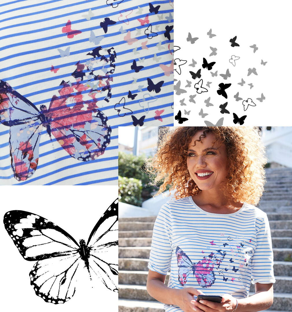 Prints & Patterns Inspirations | Butterfly Stripe Print Top | By Cotton Traders