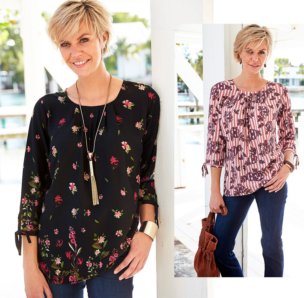 City Chic   Floral Tie Sleeve Top   By Cotton Traders