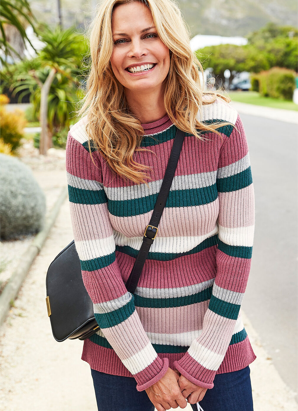 Inspirational Cashmere Knitwear | Knitted Stripe Tunic | By Cotton Traders