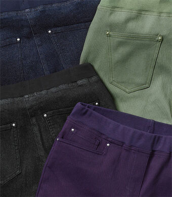 Our Top Trousers | Premium Pull-on Rib Waist Jeans | By Cotton Traders