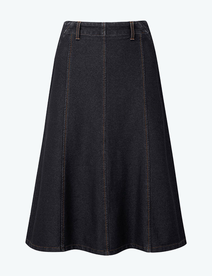 Inspirational Transitional Styles | Pull-on Jersey Denim Skirt | By Cotton Traders