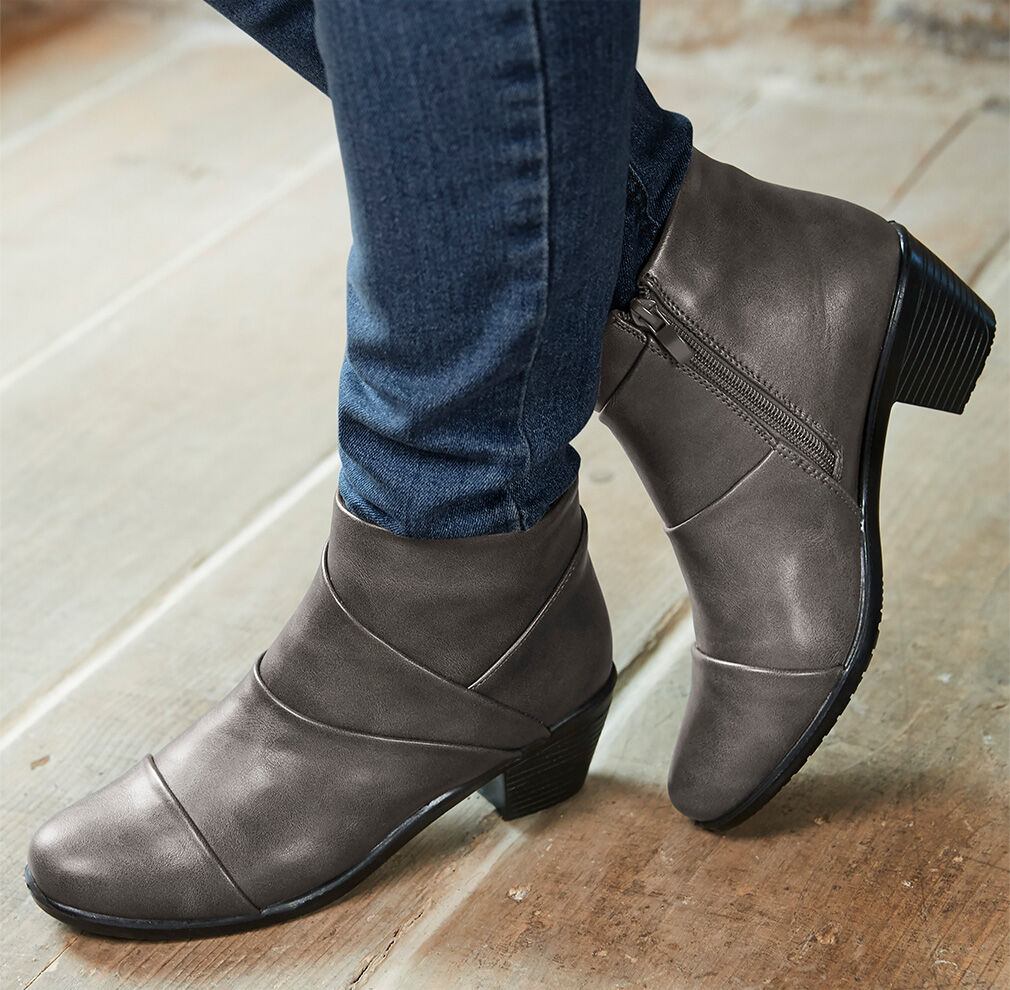 Autumn Footwear | Pleat Detail Ankle Boots | By Cotton Traders