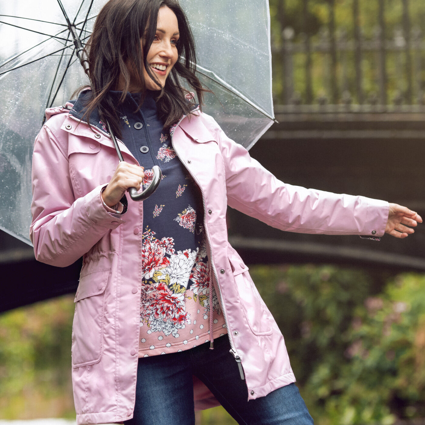 Inspire Me | The 'What Rain' Jacket | 'What Rain?' Waterproof Fleece Lined Jacket | Floral Print Button Neck Printed Sweatshirt | By Cotton Traders