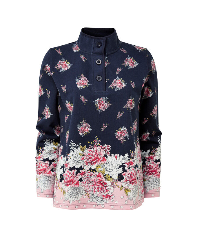 The 'What Rain' Jacket | Floral Print Button Neck Printed Sweatshirt | By Cotton Traders