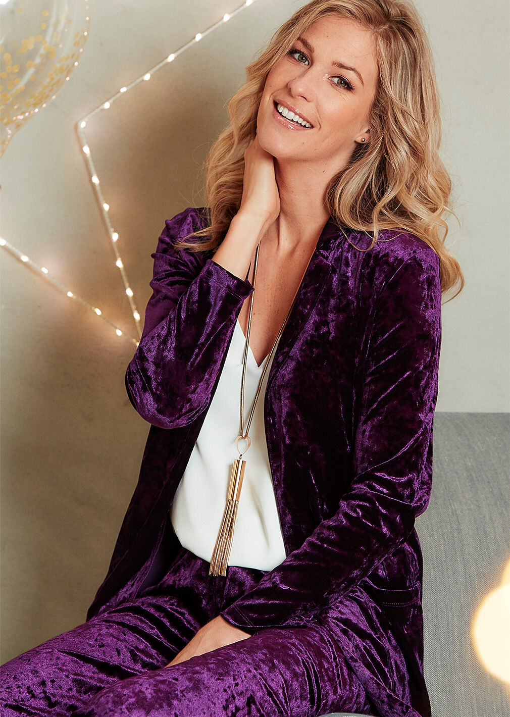 Partywear | Crushed Velour Cardigan | By Cotton Traders
