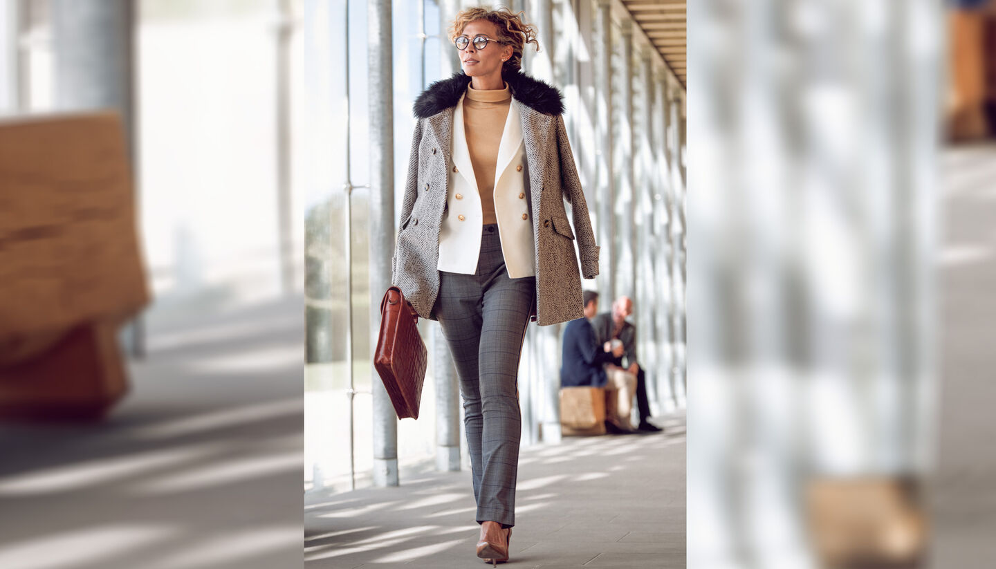 The Feelgood Coat | Double Breasted Feelgood Coat | The Friday Blazer | Roll Neck Top | Elasticated Back Waist Trousers | By Cotton Traders