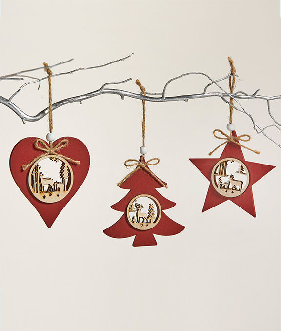 Christmas Homeware | Pack of 6 Cut Out Christmas Decorations | By Cotton Traders