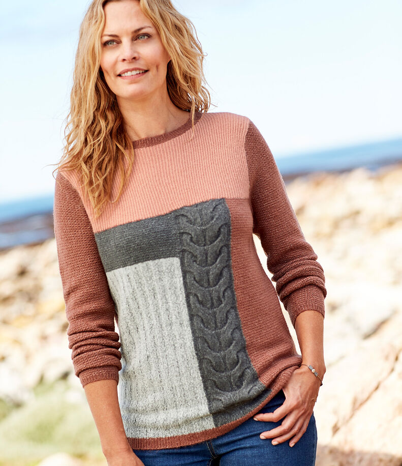 Inspirational Cashmere Knitwear | Patchwork Jumper | By Cotton Traders