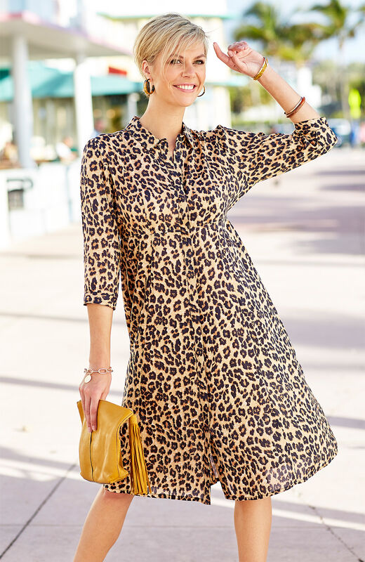 City Chic   Button-through Printed Dress   By Cotton Traders