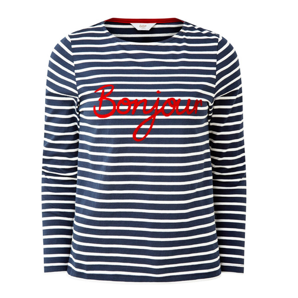 The Feelgood Coat   Stripe Slogan Top   By Cotton Traders