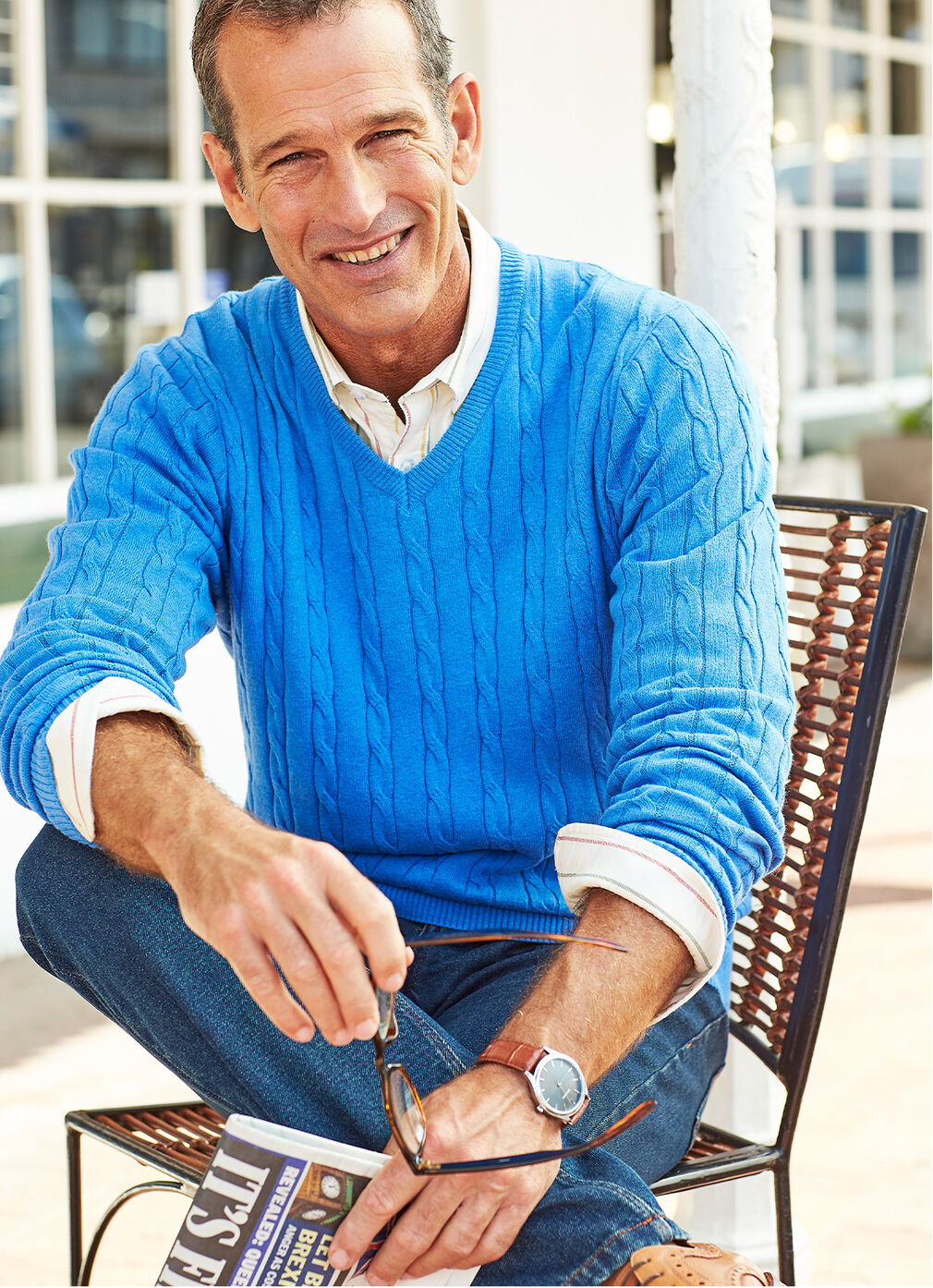 Inspirational Cashmere Knitwear | Cotton Cashmere Cable Jumper | By Cotton Traders