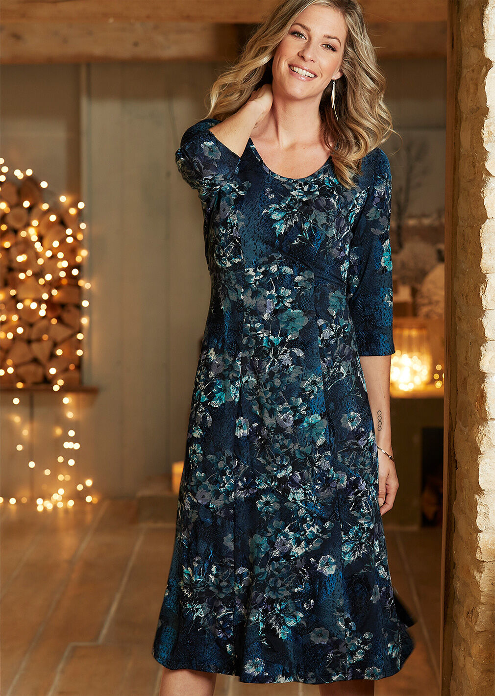 Partywear | Floral Flock Print Dress | By Cotton Traders