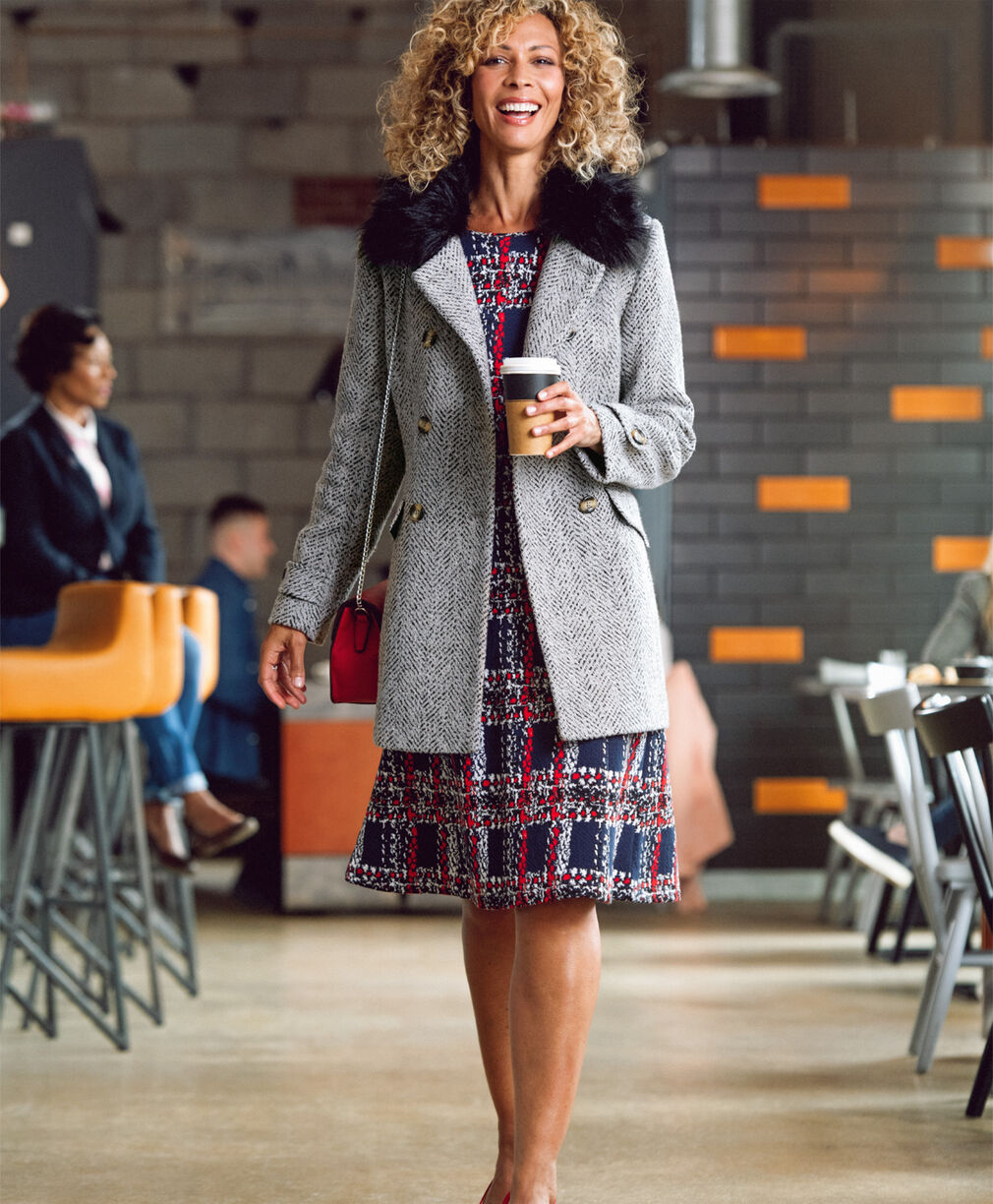 The Feelgood Coat | Double Breasted Feelgood Coat | Textured Check Dress | By Cotton Traders