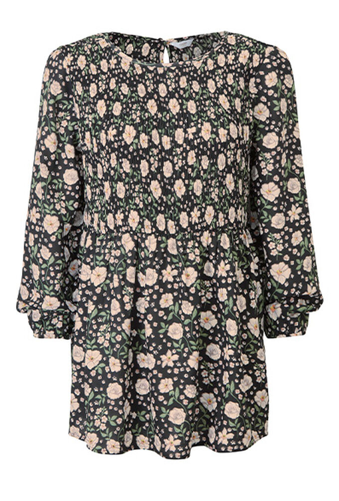Printed Eclectic Pleated Tunic Top
