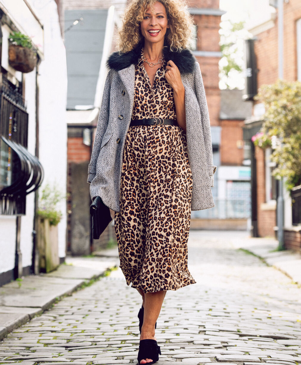 The Feelgood Coat   Double Breasted Feelgood Coat   Frockstar Button-through Dress   By Cotton Traders