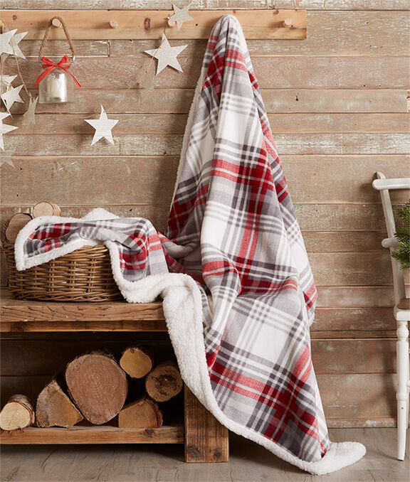 Christmas Homeware | Check Sherpa Lined Throw | By Cotton Traders