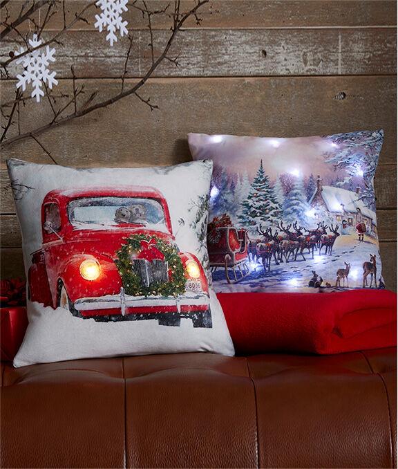 Christmas Homeware | Light Up Christmas Car Cushion | Magic of Christmas Light Up Cushion | By Cotton Traders