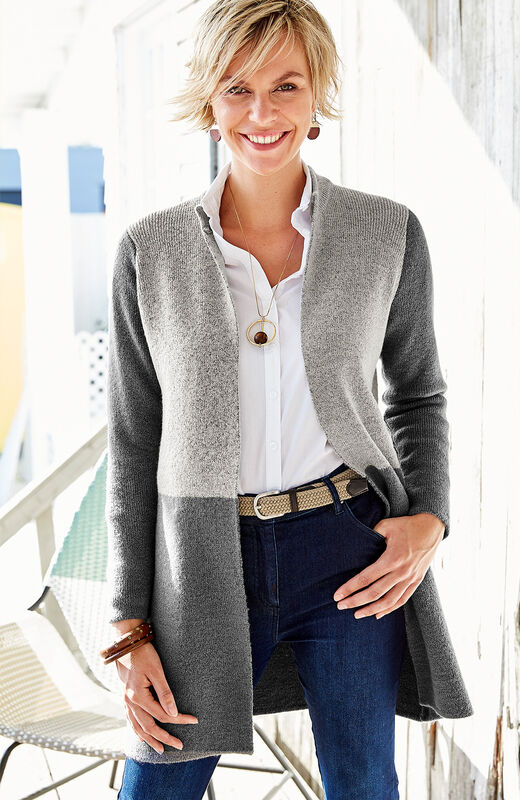 Lighter Jackets | Two Tone Longline Cardigan | By Cotton Traders