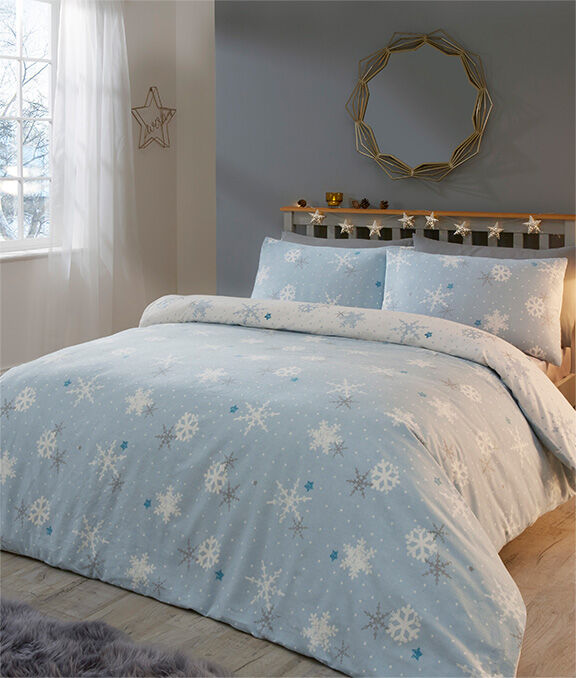 Christmas Homeware | Blue Snowflake Brushed Cotton Duvet Set | By Cotton Traders