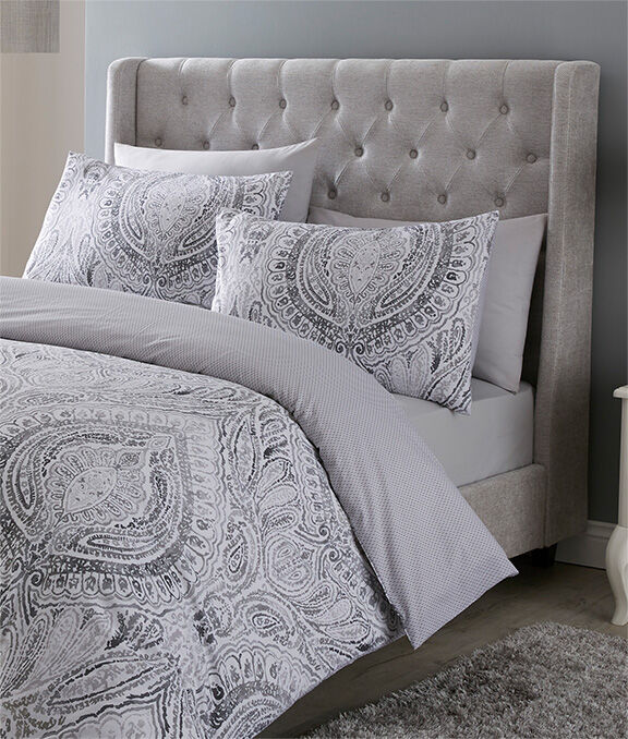 Homewear Inspirations | Paisley Duvet Set | Ditsy Hedgehog Cushion | Home Is a Feeling Cushion | By Cotton Traders