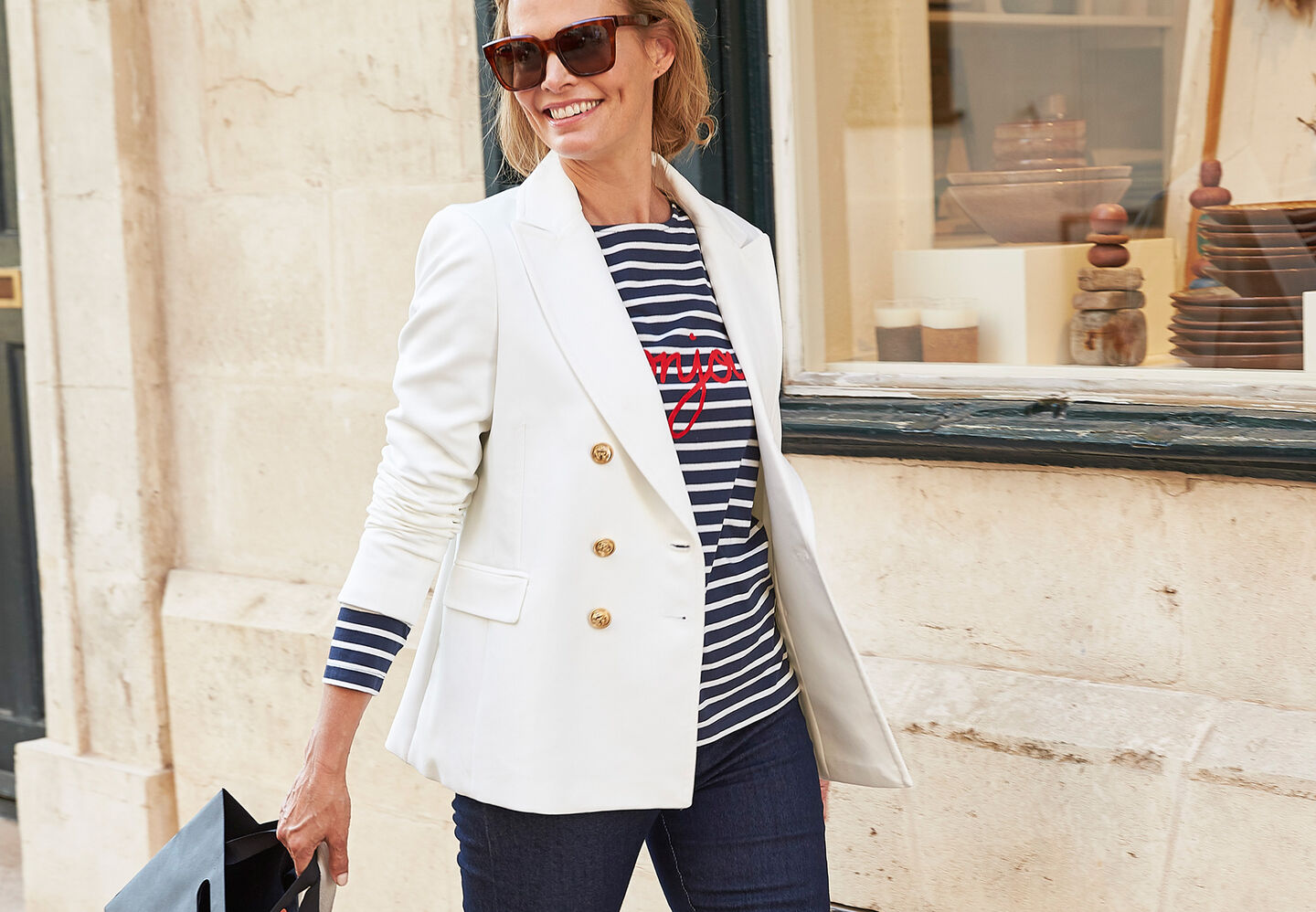 The Friday Blazer | The Friday Blazer | Stripe Slogan Top | Magic Comfort Straight Leg Jeans | By Cotton Traders