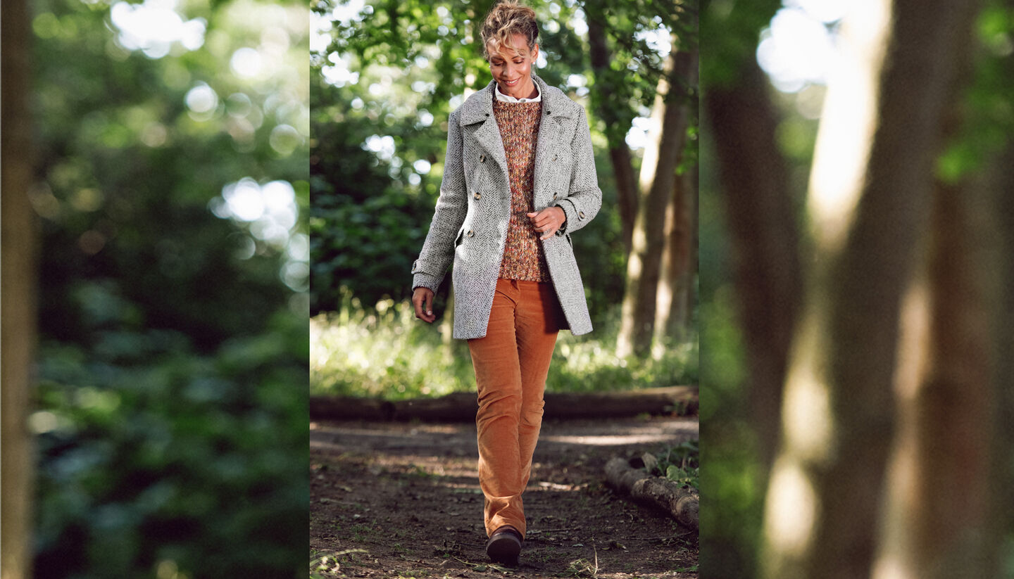 The Feelgood Coat | Double Breasted Feelgood Coat | Jumper | Stretch Cord Jeans | By Cotton Traders