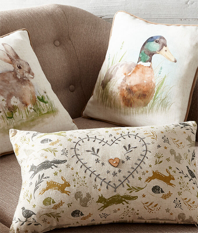 Homewear Inspirations | Watercolour Duck Cushion | Watercolour Rabbit Cushion | By Cotton Traders