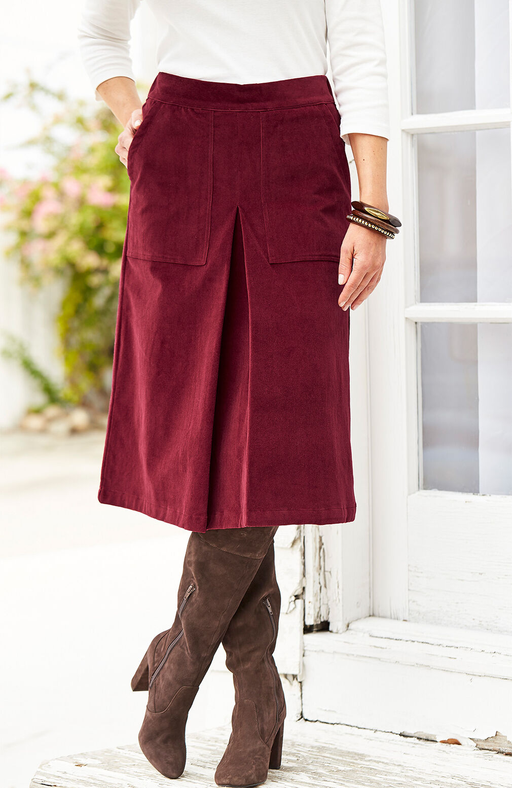 Ready For The Season | Pull-on Stretch Cord Skirt | By Cotton Traders