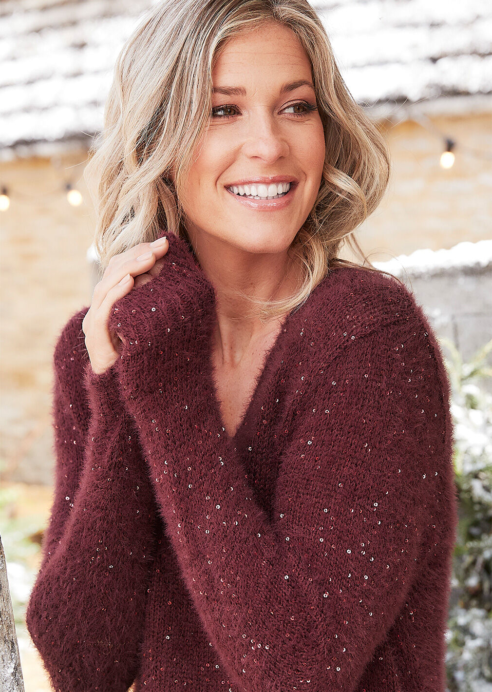 Partywear | Sequin Fluffy Jumper | By Cotton Traders