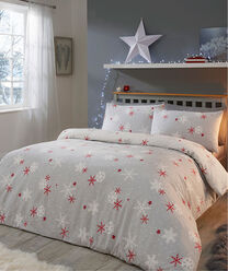 Inspire Me | Christmas Home | Red Snowflake Brushed Cotton Duvet Set | By Cotton Traders