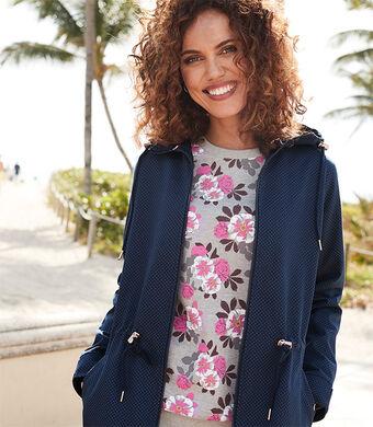 Lighter Jackets | Showerproof Spot Print Parka | Grey Marl Printed Sweatshirt | By Cotton Traders