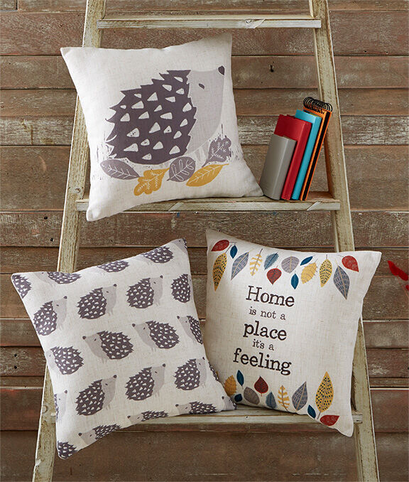 New In Home | Hedgehog Cushion | Ditsy Hedgehog Cushion | Home Is a Feeling Cushion | By Cotton Traders