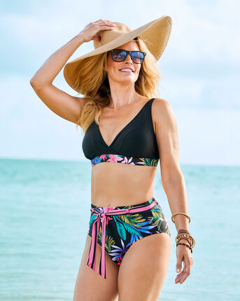 Tummy Control High Waisted Belted Printed Briefs