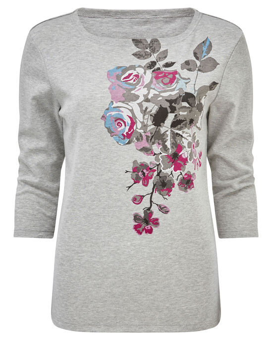 Print Floral Jersey Top