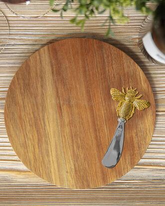 Acacia Cheese Board and Bee Knife Set