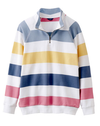 Organic Cotton Half Zip Stripe Top