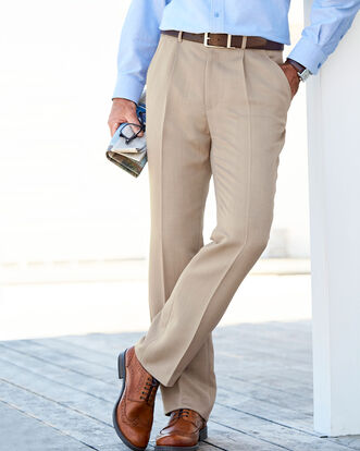 Men S Trousers Pleated Pull On Trousers Cotton Traders