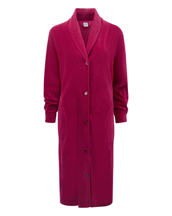 Velour Button Through Dressing Gown at Cotton Traders