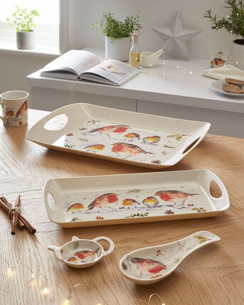 Winter Robin 4 Piece Tray and Tidy Set