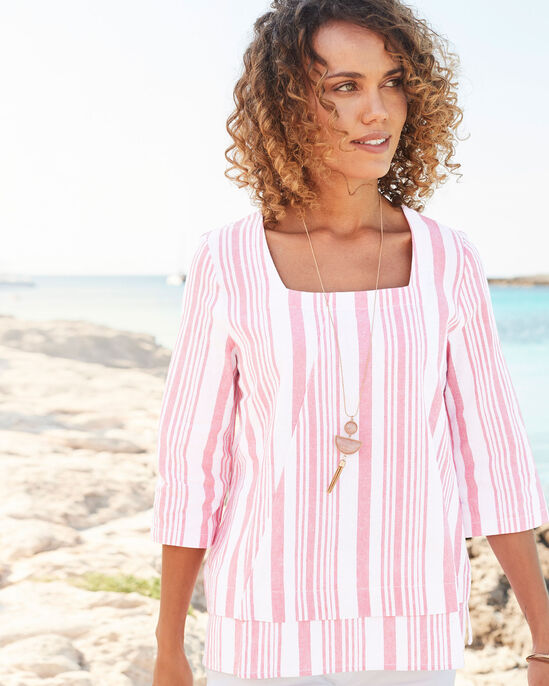 Vintage Rose Linen-blend Stripe Top
