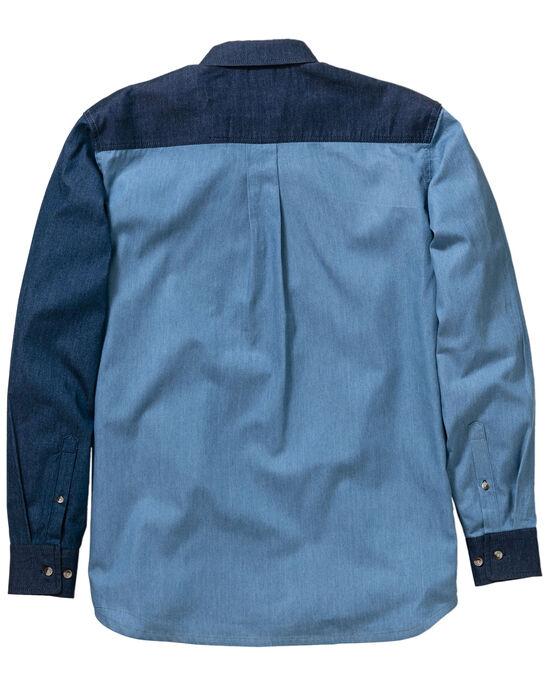 Long Sleeve Panelled Denim Shirt