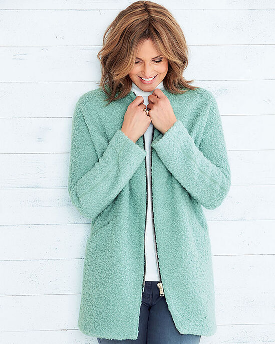 Wool Blend Boucle Coat