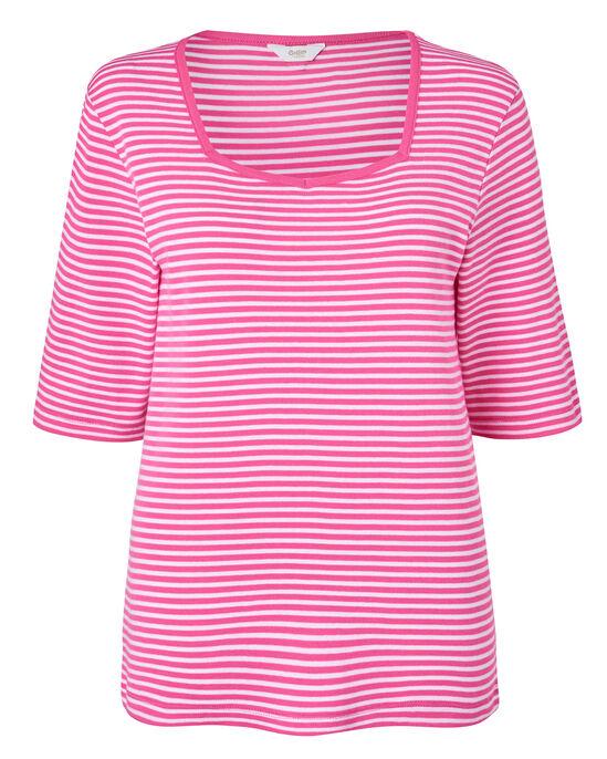 Wrinkle Free Stripe Sweetheart Neck Top
