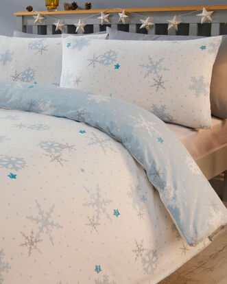 Blue Snowflake Brushed Cotton Duvet Set