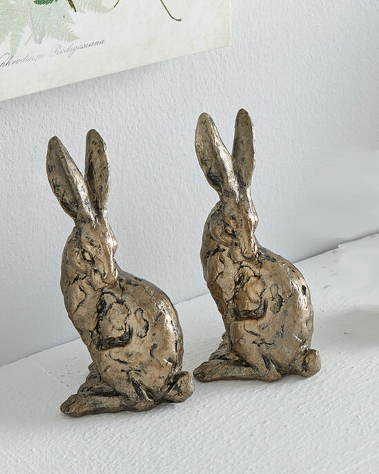 Pack of 2 Sitting Hare Ornaments