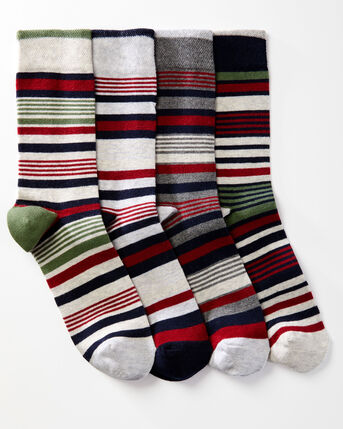 4 Pack Comfort Top Stripe Socks