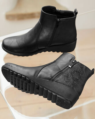 Flexisole Zip Detail Ankle Boots