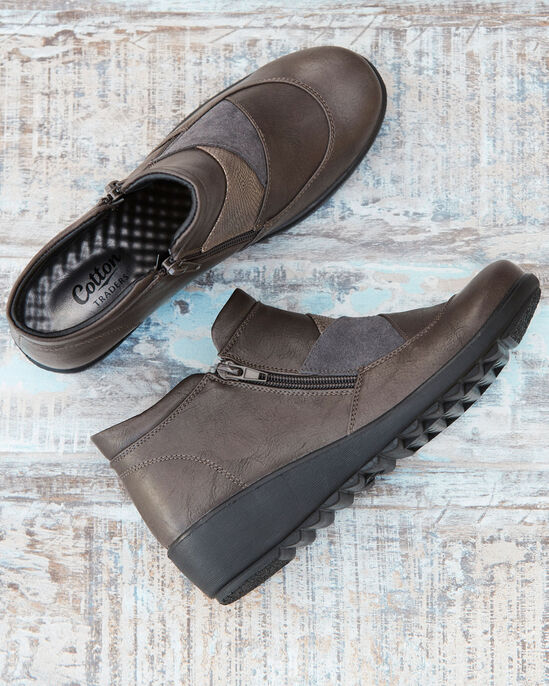 Flexisole Dual Zip Patchwork Ankle Boots